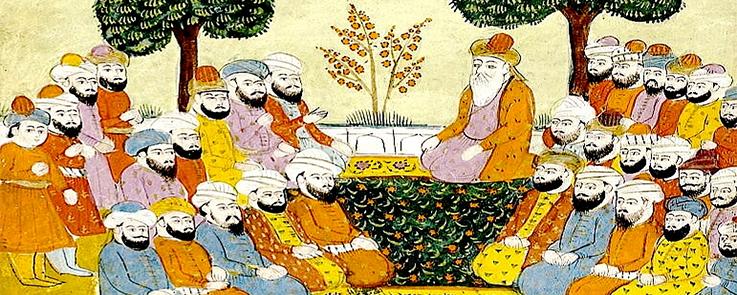 Gravure orientale avec des disciples