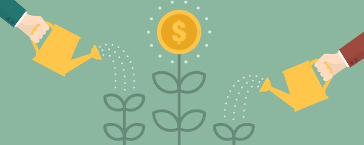 Deux bras tenant chacun un arrosoir arrosent des fleurs en forme de pièces de monnaie