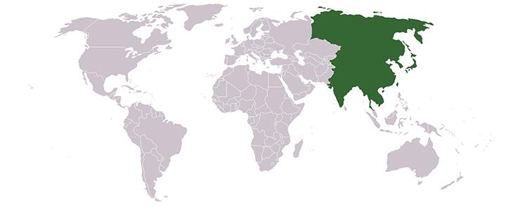 Carte de l'Asie de l'Est