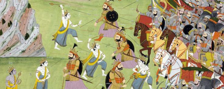 A painting from the Mahabharata: Balabhadra fighting Jarasandha