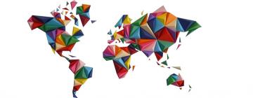 Carte du monde en mosaïque de couleurs
