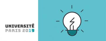 Logo Université Paris 2019 et image d'une ampoule