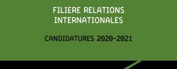 Filière Relations internationales - Candidatures 2020-2021