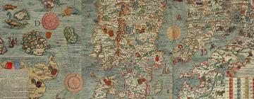 Carta Marina (carte marine), une grande carte de la Scandinavie, Olaus Magnus, 1539