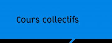"""Vignette noire sur fond bleu """"Cours collectifs"""""""