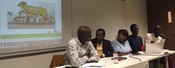 """Intervenants du DIU H2M au cours de la séance """"Les mots de l'exil en arabe soudanais"""""""