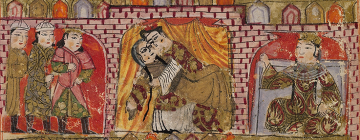 Scène de mariage perse du 14ème siècle : un homme tient sa femme dans ses bras devant quatre témoins