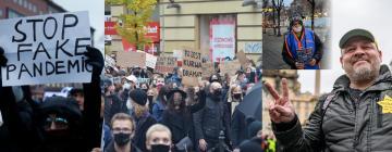 Montage de photos illustrant la crise sanitaire en Europe médiane (Estonie, Pologne, Serbie, République tchèque)