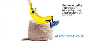 Montage pour illustrer une expression tamoule : une banane sur un pouf