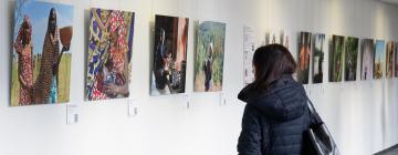"""Femme de dos regardant l'exposition """"La voix des femmes autochtones"""" à l'Inalco"""