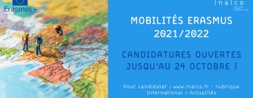 Bannière campagne de mobilité Erasmus - S2 2021/2022