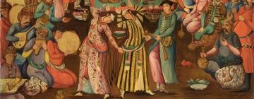 Sarkis Katchadourian, Shah Tahmasp recevant Homayun, 1934 (scène de festivités avec danseuses et musiciens)
