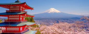 Image représentant le Japon : Mont Fuji, des cerisiers et la tour d'un temple rouge.