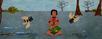 Visuel tiré du film Koñagxeka, film d'animation. L'image représente un garçon assis en tailleur tenant une panière dans la nature