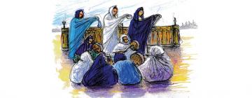 Six femmes algériennes assises jouant du tambour et trois femmes debout avec un encensoir
