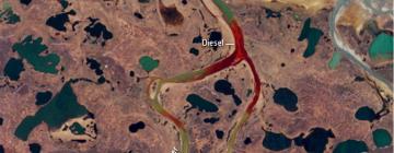 Image satellite de la marée noire à l'intérieur du cercle arctique
