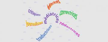 Montage de noms de métiers littéraires : éditrices, traductrices, etc.