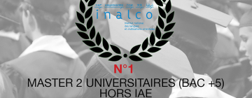 Logo du palmarès du Moci avec en arrière-plan des étudiants lauréats de dos