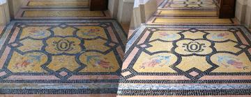 Sols en mosaïque avant et après leur rénovation