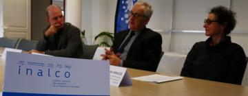 Représentants de l'Inalco et le directeur du Pôle métropolitain Nord Franche-Comté