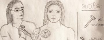 Séance de tatouage (dessin au crayon à papier)