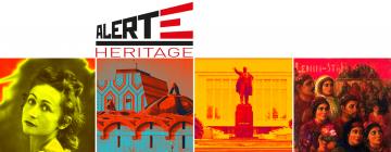 4 photos représentant une femme, un bâtiment, une statue et une foule