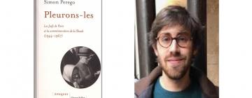 Portrait de Simon Perego avec à côté son livre
