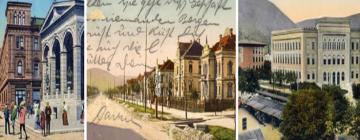 3 Illustrations : Personnes dans la rue en 1900 puis rue avec un alignement de maisons puis grans bâtiment blanc