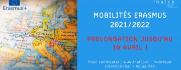Bannière campagne de mobilité Erasmus 2021/2022