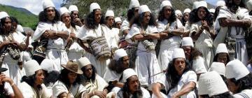 Photographie de plusieurs hommes habillés en blanc, chapeaux blancs