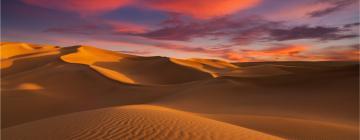 photo du sahara au coucher du soleil