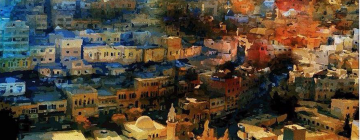 Peinture représentant une vue panoramique de la ville de salt (Jordanie)