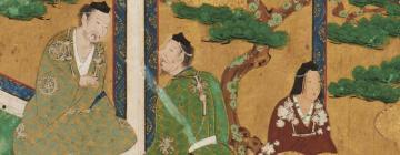 Illustration japonaise classique, deux hommes discutent, une femme assise à leur droite