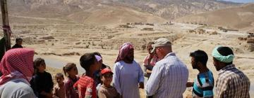 Yazidi refugees and aid workers on Mount Sinjar in August 2014