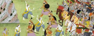 A painting from the Mahabharata: Balabhadra fighting Jarasandha
